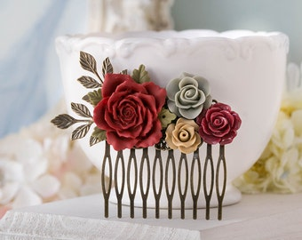 Red Latte Brown Gray Hair Comb Red Wedding Hair Comb Floral Bridal Comb Bridesmaid Gift Antiqued Gold Leaf Rustic Vintage Hair Accessory