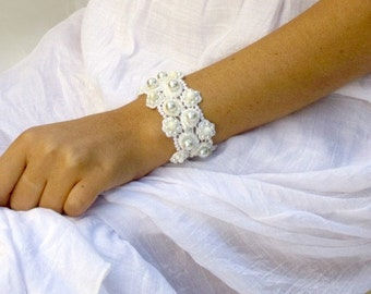 Bridal pearl bracelet wedding pearl bracelet wedding jewelry pearl bridal jewelry white lace bracelet for wedding wide cuff bracelet bride