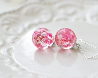 Floral earrings pink earrings nature inspired jewelry, pink queens' anne's lace, real flower jewelry, flower girl gift