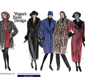 Vogue's Basic Design 2347 Women's 80s Coat Sewing Pattern Bust 31 32 34