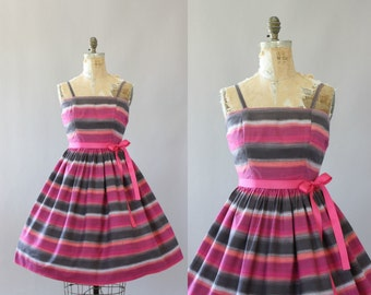 Vintage 50s Dress/ 1950s Cotton Dress/ Pink & Gray Striped Cotton Dress M