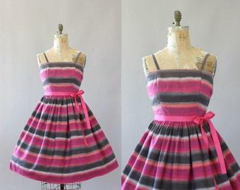 Vintage 50s Dress/ 1950s Cotton Dress/ Pink & Gray Striped Cotton Dress M