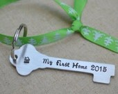 My First Home Key Ornament - Hand Stamped- New Homeowner Gift - New Home - Christmas Ornament