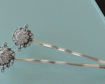 Crystal Blossom  silver Filigree hairpins brides bridesmaids flower wedding bobbypins