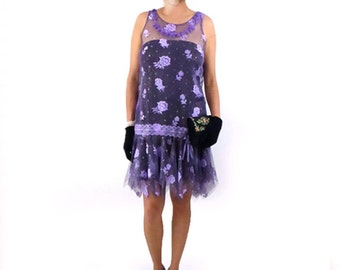Great Gatsby Dress, Retro Flapper Dress, Roaring 20s Dress, Downton Abbey Dress, Flapper Costume, Purple Floral Lace Flapper,1920s Dress