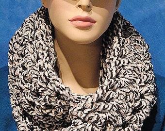 Black Crochet Infinity Scarf, Crochet Scarf, Infinity Scarf, Black Infinity Scarf, Gray Infinity Scarf, Black and White Scarf