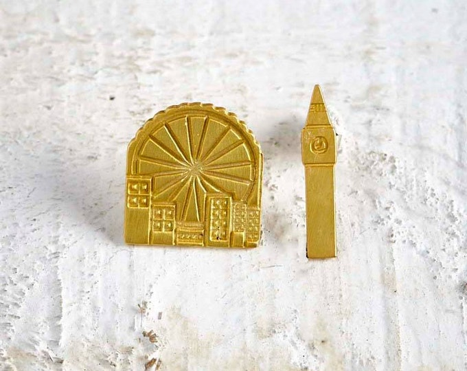 London Eye Big Ben Mix and match Gold plated bronze Earrings famous Architectural Buildings Stud Earrings European Capitals Urban design