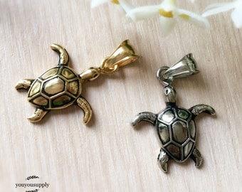 Cute Tortoise Turtle Stainless Steel Pendant Charm