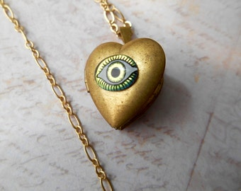 Eye Locket, Vintage Components, Brass Locket, Eye Necklace