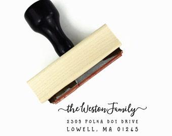 Minimalist Address Stamp - Custom Personalized Return Address Wedding Rubber Stamp