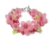 Cherry Splash Pink Flower Swarovski Crystal Cluster Charm Silver Bracelet, Romantic Spring Jewelry, Mother's Day Gifts, Wedding, Bridesmaids