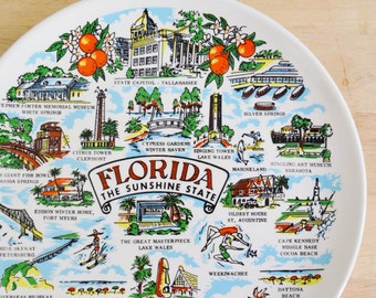 Vintage Florida Souvenir Plate Sunshine State with Attraction Illustrations