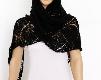 Black shawl Spring Hand Knit  Shawl  Knitted Lace Shawl Womens Wraparound Shawl Crocheted shawl