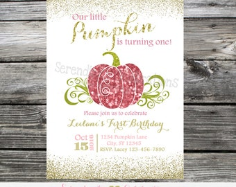 Pumpkin Baby Shower Invitation, Glitter Invitation,  Printed Invitation, Baby Shower Invite, Pumpkin Birthday, 1st Birthday, Pumpkin Invite