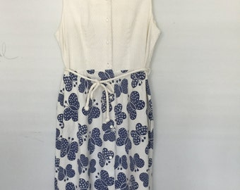 70s Butterfly Dress in Blue and White / size Large XL or plus size