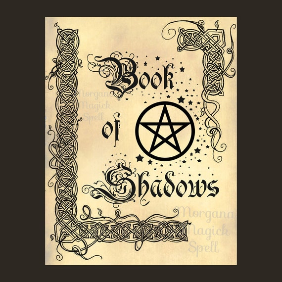 COVER BOOK of SHADOWS Page, Digital Download, Grimoire, Scrapbook,  Wicca, Pagan, Witchcraft, White Magick, Magick Spell