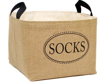 Socks Burlap Laundry Basket