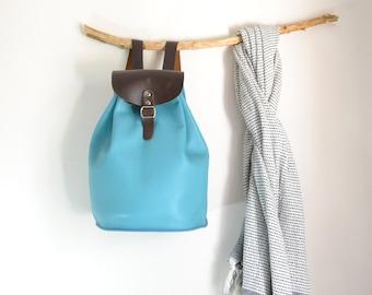 Leather Bucket Backpack,  Leather Bucket Bag, Leather Weekender Bag, Weekender Backpack, Gift For Her, Wife Gift, Girlfriend Gift, Pastel