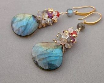 Reserved Flash Labradorite Earrings with Carnelian, Amethyst, Topaz, Pyrite and Agate Cluster, Vermeil and Gold Fill