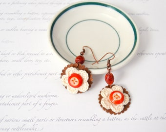 Vintage Button Earrings - Handmade Dangle Earrings - Vintage China Buttons