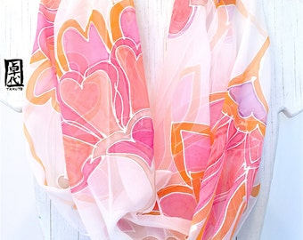 Silk Scarf Long Handpainted, Gift for her, White Silk Scarf, Pink Kimono Floral Scarf, Silk Chiffon, Silk Scarves Takuyo, 11x90 inches.