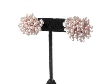 Pink Pearl Earrings Cluster Dangle and Drop 1950s