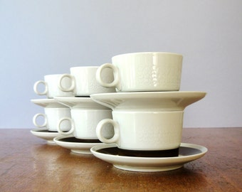 """Six (6) Vintage Rorstrand """"Forma"""" Cups / Saucers - Olle Alberius"""