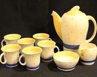 Vintage Susie Cooper Krestel Demitasse Coffee Set, Tyrol Pattern