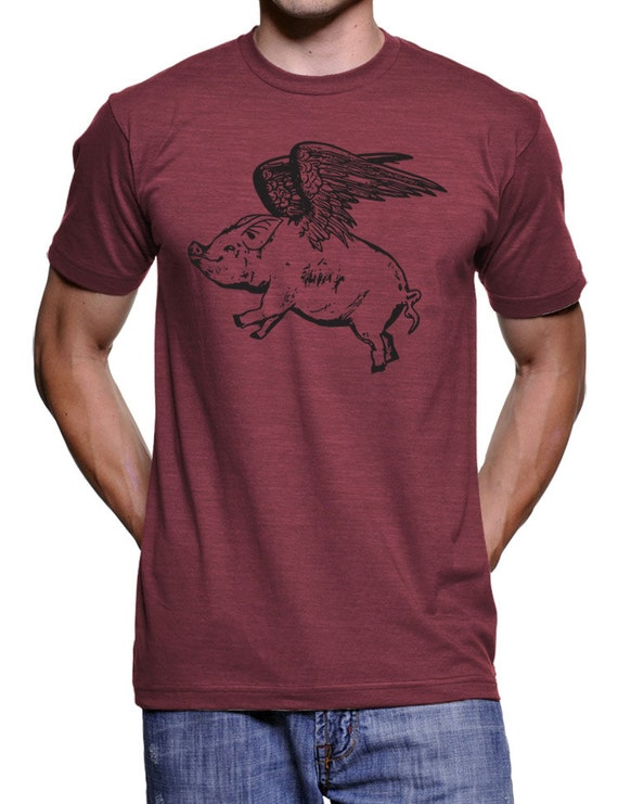 Flying Pig T Shirt Funny Bacon Tee Piglet Shirt Pig Shirt Funny Graphic Tees Cool Graphic Tees Pigs Country Farm Tshirt Gift For Him Size L