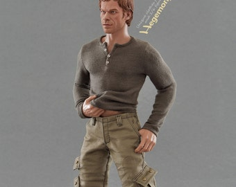 1/6th scale Dexter Morgan inspired henley shirt for regular collectible action figure bodies and male fashion dolls
