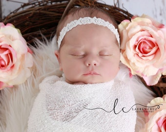 White Floral Lace Headband for Christenings, Baptism, Weddings, Baby Photo Props, Newborn Photos, White Floral Lace, by Lil Miss Sweet Pea
