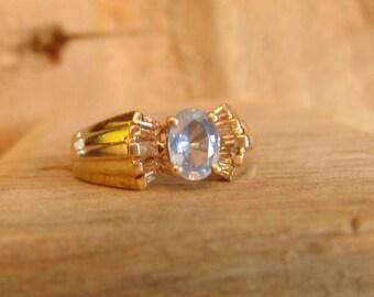 Vintage Blue Topaz Diamond 14k Ring, Baguette Diamonds,Oval Topaz, Yellow Gold, December Birthstone