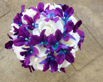 Purple blue orcid, galaxy orchid, real touch rose, white calla lily bridal bouquet, bride bouquet, island orchid,