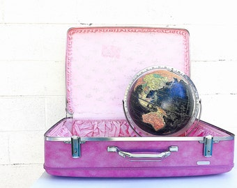 PURPLE VINTAGE SUITCASE | Extra-Large American Tourister Hard Side Luggage | Hard-to-Find Light Purple w/Pink Interior | Photography Prop
