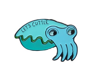 Soft Enamel Cuttlefish Pin - Turquoise Cuttle Fish Pin - Let's Cuttle PIn