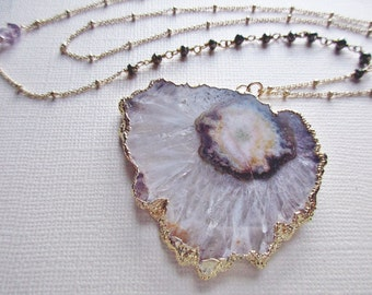 HUGE pale amethyst druzy necklace- amethyst slice necklace - amethyst stalactite jewelry -  geode jewelry