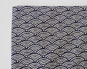 Japanese Fabric, Wave Fabric, Kimono Fabric, Navy Blue Fabric