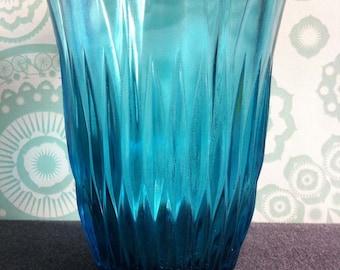 SALE - 50% off - Mid Century - Vase - Pressed Glass - Turquoise