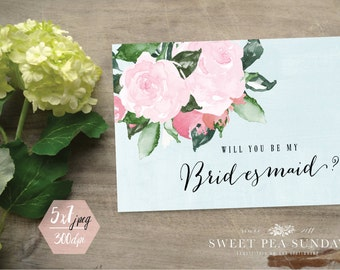 PRINTABLE CARD DOWNLOAD - 5x7 Bridesmaid Card. Will You Be My Bridesmaid, Maid of Honour, Maid of Honor, Flower Girl DD002