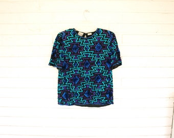 Vintage 80s blue black sequin SILK southwest print top size S top womens shirt