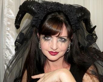 THE SICKNESS Demon Bridal Veil Devil Horns Headdress Hair Adornment ooak