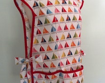 Cobbler Apron, Smock Apron with Sailboats, Nautical Apron, Over the Head Apron, Full Coverage Apron, Michael Miller Shore Thing Sailboats