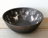Abstract vintage pottery bowl / earthy modern home coffee table decor / abstract hand made art pottery dish / charcoal black / cream white