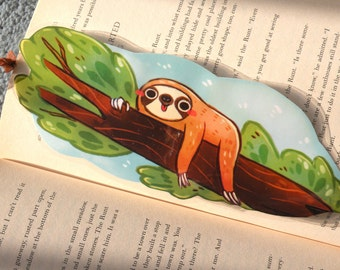 Sloth Bookmark, Illustrated bookmark,  unique bookmarks