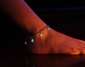 Butterflies Anklet Bracelet GLOW in the DARK Stainless Steel