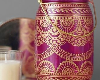 Bohemian Moroccan Lantern, Painted Mason Jar Decor, Outdoor Lantern, Hanging Mason Jar Lantern, Boho Lighting Mason Jar Light