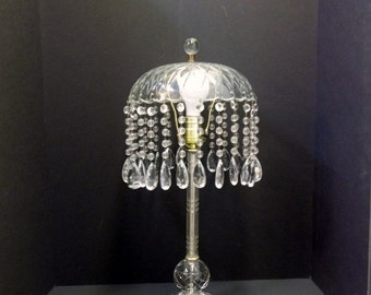 vintage crystal waterfall table lamp cut crystal lamp czech chandelier crystals glass beads cut crystal lamp