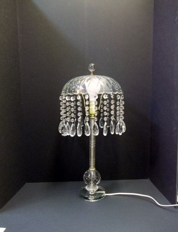 Items similar to vintage crystal waterfall table lamp cut for Waterfall lamp shade