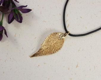 SALE Leaf Necklace, Gold Evergreen Leaf, Real Evergreen Leaf Necklace, Gold Leaf, Gold Leaf Pendant,SALE36