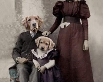 The Gold Family, Golden Retriever Print, Anthropomorphic Dog Art, Whimsical Animal Art, Dog Digital Painting, Unique Wall Decor